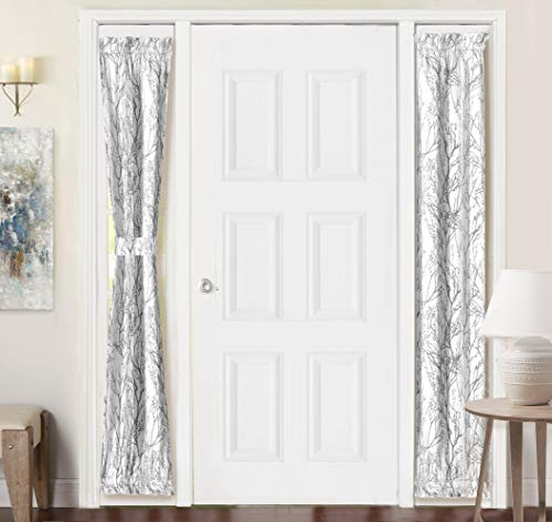 DriftAway Tree Branch Door Curtain Sidelight Curtain Thermal Rod Pocket Room Darkening Privacy Front Door Panel Single Curtain with Bonus Adjustable Tieback 25 Inch by 72 Inch Gray (Entryway Curtains)
