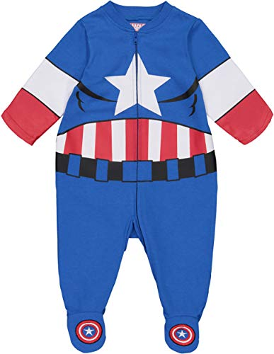 Marvel Avengers Captain America Baby Boys' Zip-Up Costume Coverall with Footies (3-6 Months)