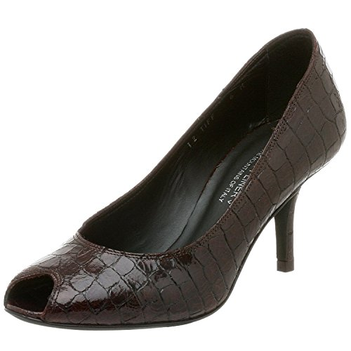 Donald J Pliner Couture Women's Tiff Peep Toe Croc Alligator Pump,brown 7.5 N (Narrow)