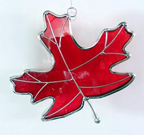 Stained Glass Maple Leaf Sun Catcher, Red