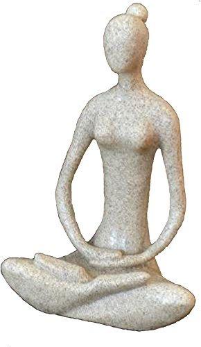 Yoga Goddess Meditating Statue 8.7″ Sandstone 41436 Full Lotus For Sale