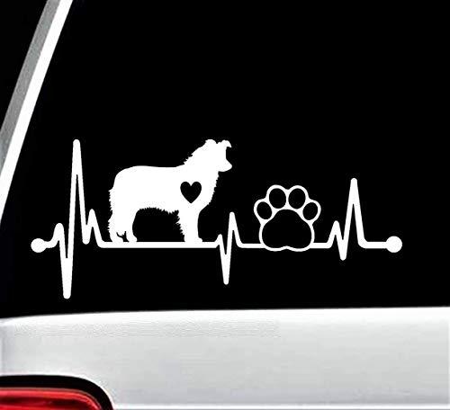Border Collie Heartbeat Lifeline Paw Decal Sticker for Car Window 8 Inch BG 190