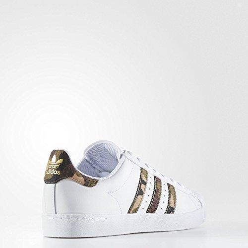 Adidas Originali Mens Superstar Vulc Adv Scarpe Calzature Bianco / Marrone / Oro Metallizzato