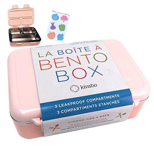 Stainless Steel Bento Box Lunch-Box for Girls | Metal Lunch Containers Mini Boxes for Toddlers Pre-School Kids | Best Eco-Friendly Leakproof Container Baby Bento | Three Compartments | BPA-Free Pink (Metal Lunch Box)