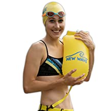 New Wave Swim Buoy for Open Water Swimmers and Triathletes - Light and Visible Float for Safe Training and Racing (Yellow PVC Medium-15L)