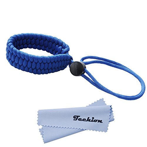 Techion Braided 550 Paracord Adjustable Camera Wrist Strap/Bracelet for Cameras, Binoculars, and Other Stuff (Blue)