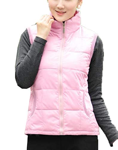 Fit Jacket Slim Lightweight Women's Stand Outerwear Pink Vest EKU Down Collar Padded HwOqIW4