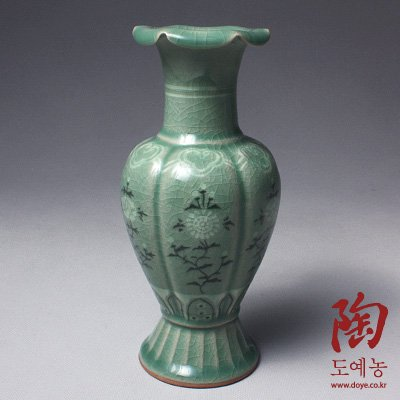 Korean Celadon Glaze Peony Flower Inlay Design Green Deco...