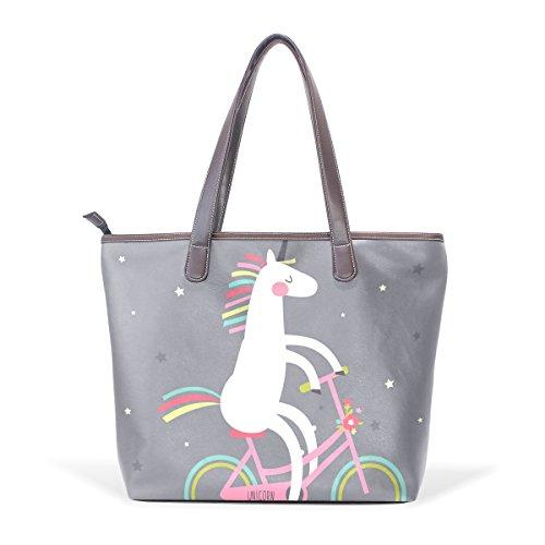 COOSUN Unicornio lindo en una bicicleta grande bolsos de hombro del cuero de la manija de mano pu bolso de mano L (33x45x13) cm Multicolor # 002