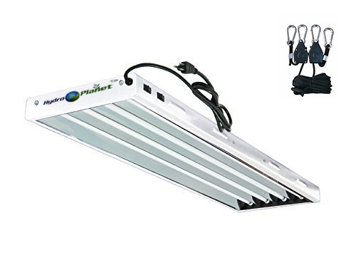 Hydroplanet T5 4ft 4lamp Fluorescent HO Bulbs Included for Indoor Horticulture Gardening T5 Grow Lights Fixtures (4 Lamp, 4ft)