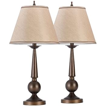 """Globe Electric Set of Two 27"""" Table Lamps, Bronze Finish, Beige Shades, 12398"""