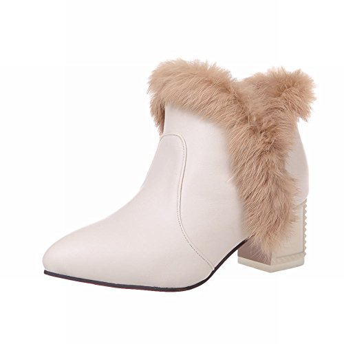 Carol Shoes Women's Fashion Western Mid-heel Short Snow Boots apricot 968MtMe