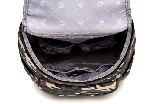 LCY elegante multifunción organizador portátil mochila bolso cambiador bolsa con cambiador gris camouflage