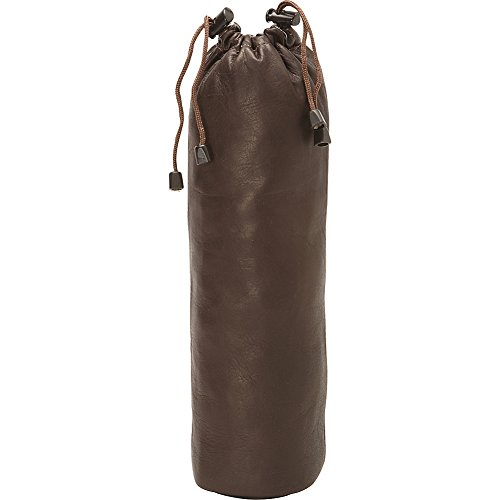 Piel Leather Drawstring Single Wine Tote, Chocolate, One Size Made Leather Single Wine