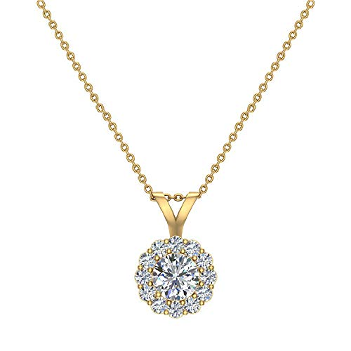 Halo Diamond Necklace Round Brilliant Earth-mined 14K Gold Pendant G,VS Signature Rare Quality