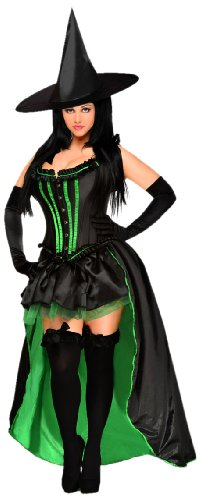 Daisy Corsets Women's 5 Piece Sexy Wicked Witch Costume, Black, 2X