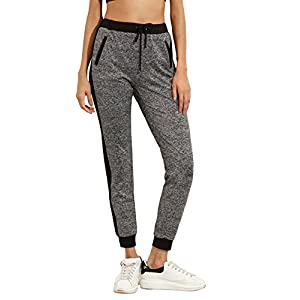 SweatyRocks Women Pants Colorblcok Casual Tie Waist Yoga Jogger Pants (Large), Black Grey #2