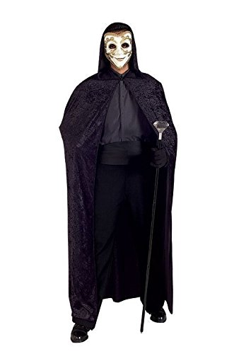 Black Panne Velvet Hooded Cape/Cloak Costume