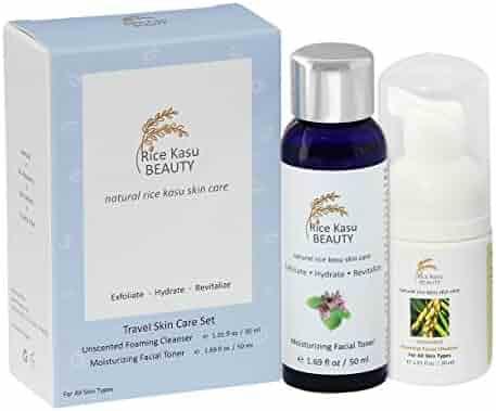 Rice Kasu Beauty Travel Skin Care Set, Rose Geranium, 2.71 Fluid Ounce