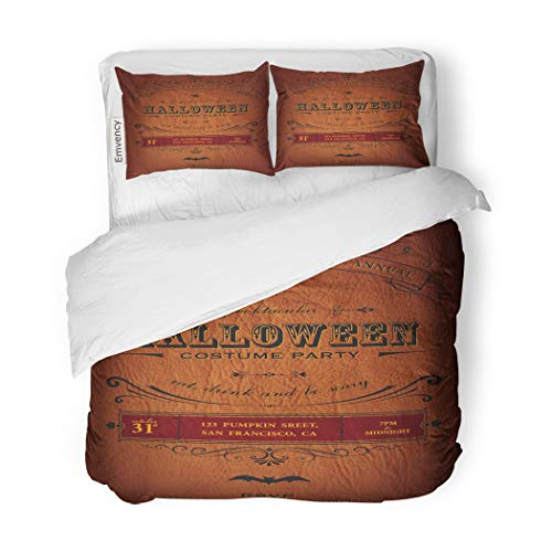 SanChic Duvet Cover Set Orange Vintage Halloween Party Label Classic October Announcement Decorative Bedding Set with 2 Pillow Cases King Size