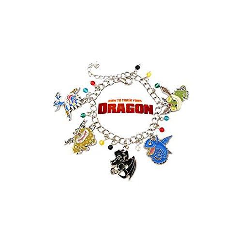 How To Train Your Dragon Silver Tone Cartoon Comic Logo Charm Bracelet w/Gift Box by Superheroes Green Dragon Charm