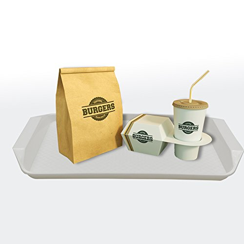 Amazon.com | Lesbin White Plastic Fast Food Serving Trays, 16.9-Inch by 12-Inch, Set of 4: Serving Trays