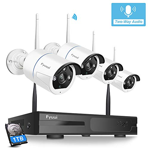【Two-Way Audio】 Security Camera System Wireless, Fyuui 1080P 8 Channel Wireless Surveillance NVR with 1TB Hard Drive, 4pcs 2.0 Megapixel (1920×1080P) WiFi IP Bullet Camera Outdoor Indoor,Remote Access