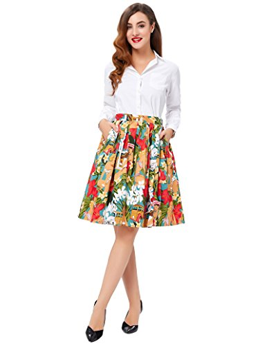 Retro Swing Skirt for Women Pin Up Skirt Size L CL6294-7
