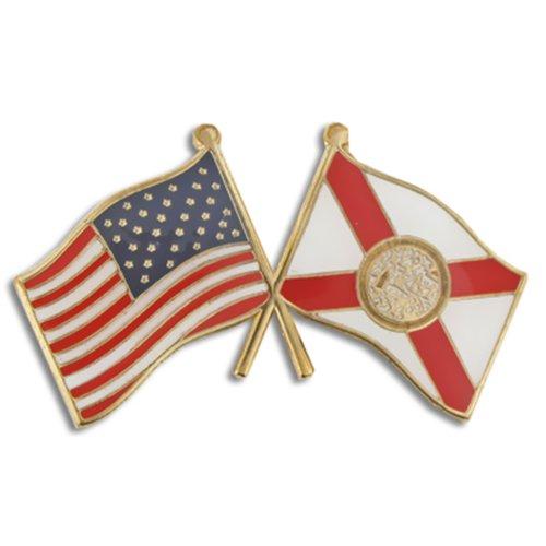 PinMart's Florida and USA Crossed Friendship Flag Enamel Lapel Pin