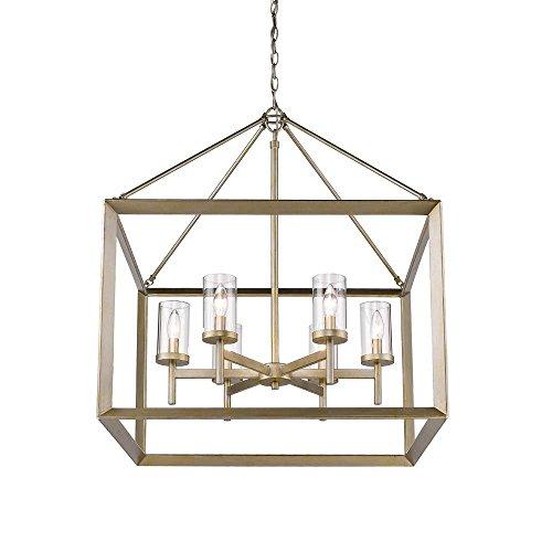 Golden Lighting 2073-6 WG-CLR Smyth WG – Six Light Chandelier, White Gold Finish with Clear Glass