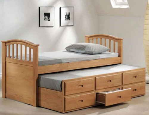 Maple Finish Twin Headboard - Twin Size Bed with Trundle & Drawers Maple Finish