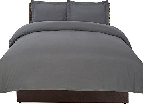 Premium Cotton Duvet Cover Set (Queen, Grey) ...