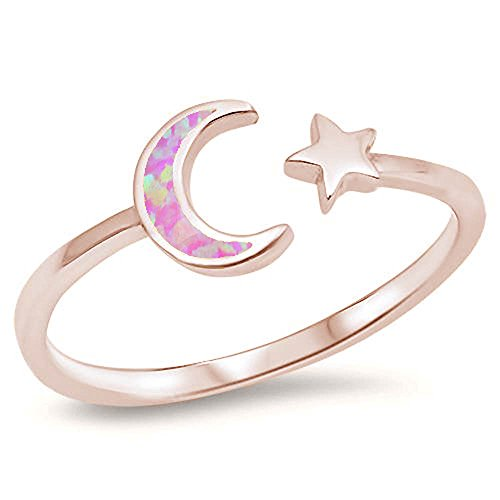 Oxford Diamond Co Sterling Silver Celestial Star & Moon Open Ring Sizes 2-10 Colors Available (Rose Gold Plated Pink Opal, 9)