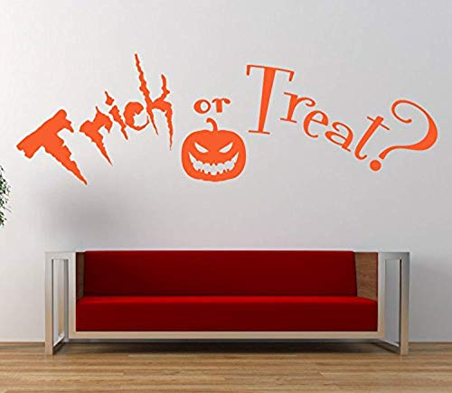 Wall Vinyl Decal Trick Or Treat Halloween Quote Mural Home Window Mirror Vinyl Decor Sticker Home Art Print WD7155 ()