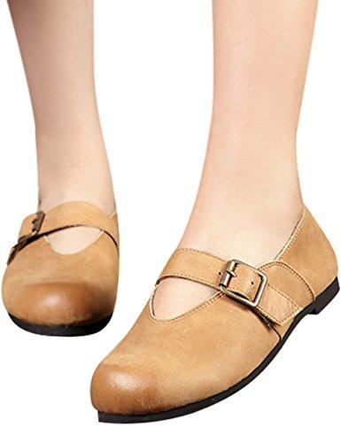 Zoulee Kvinna Rund Tå Läder Gummi Flats Skor Mary Jane Skor