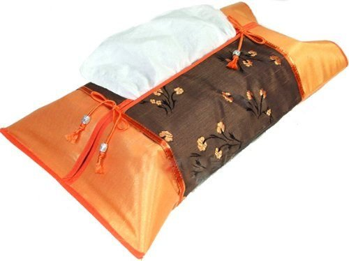 Papaya Shop Orange Silk Kleenex Tissue Box Cover Orange Brown Oriental Floral