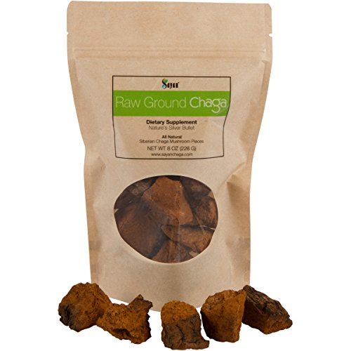 Sayan Siberian Pure Raw Chaga Mushroom Chunks with Black Top Crust 8 Oz 227 g Premium Quality 100 Wild Forest Harvested Super Antioxidant Tea, Supports Immune System, Heart Liver Health