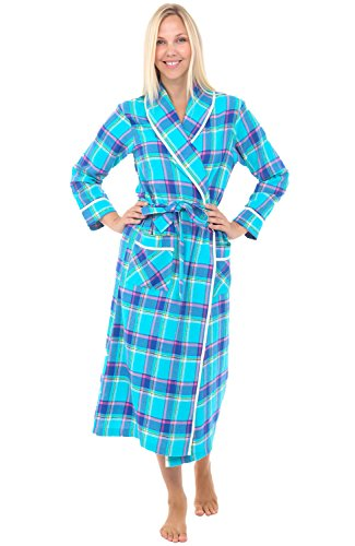 Alexander Del Rossa Womens Flannel Robe, Lightweight Cotton Bathrobe, Small Teal Plaid (A0549Q26SM)