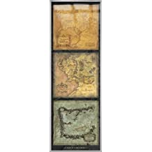 """The Lord Of The Rings - Framed Movie Door Poster / Print (Map Of Middle Earth Tryptich) (Size: 21"""" x 62"""")"""