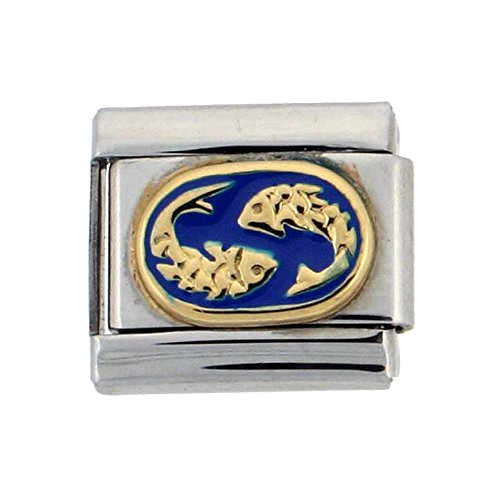 Stainless Steel 18k Gold Pisces Zodiac Sign Charm for Italian Charm (Zodiac Italian Charm)
