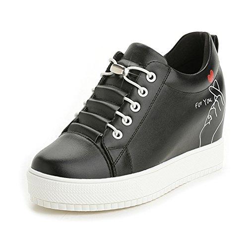 Ciabatta Donna Moda Casual Sneaker Alta Cima Scarpe Con Plateau Rialzate Nere