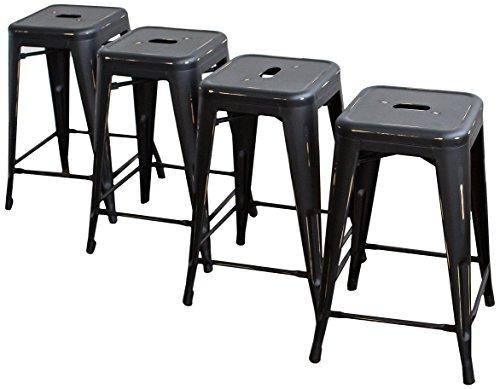 Buschman Counter Height Metal Bar Stools, Indoor/Outdoor, Stackable, 24