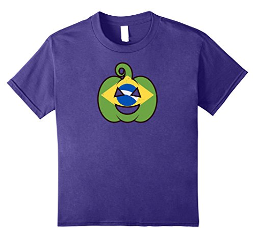 Kids Brazilian Halloween Pumpkin T-Shirt - Brazil Flag Costume 10 (Brazilian Costume For Kids)