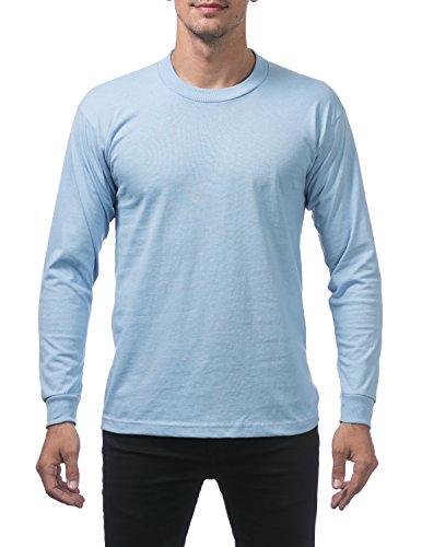 Pro Club Men's Heavyweight Cotton Long Sleeve Crew Neck T-Shirt, 2X-Large, Sky (Blue Sky Heavyweight T-shirt)