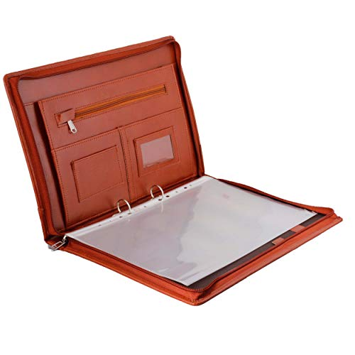 ZesTale Leatherette Material Professional 2 Ring File Folders (Size: fS Colour: Tan) with 20 Leafs