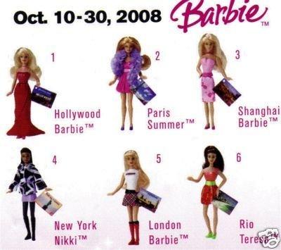 Mattel 2008 McDonald's Barbie Doll Toys ~ Complete Set of...