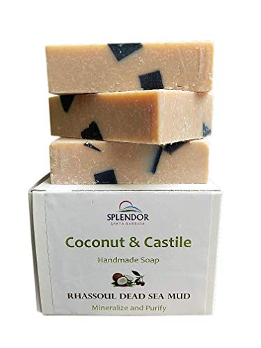 Dead Sea Mud Mineral Coconut Castile Face and Body Bar Soap w/ORGANIC Shea Butter. Handmade USA, Vegan, Natural, Moisturizing.