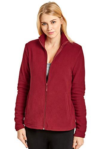 Sofra Women's Polar Fleece Full Zip Up Winter Jacket (S, Burgundy)
