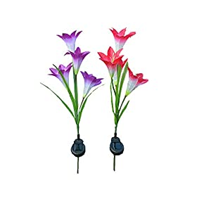2 Pcs Lily Flower Solar Powered Garden Stake s Artificial Flowers LED Light Bulb 32