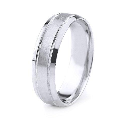 Satin Finish Band Ring (18k Gold Men's Wedding Band with Satin Finish Bordered by Milgrain and Beveled Edges (8mm))